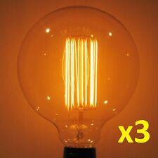 "SCRATCH&DENT DISCOUNT: 3pk 60W Edison Filament G40 Globe Light Bulb XLARGE 4.92"""