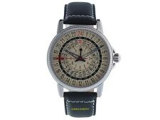 No-Watch 24 Ore Orologio CL1-1111 Quarzo Gmt 750 Pezzo Cinturino in pelle 5atm
