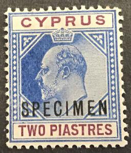 Cyprus Edward VII 2 Piastre Blue & Purple SG53 Overprinted Specimen Part Own Gum