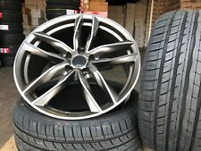 "4x 18"" alloy wheels RS6C style Gunmetal polished face + tyres audi a3 a4 vw golf"