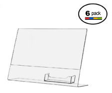 11 x 8.5 Clear Acrylic Slanted Sign Holder Displays with Business Card Holder