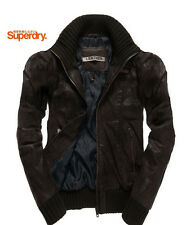 Camicia Superdry Rickman bomber in pelle marrone scuro/Taglia Large