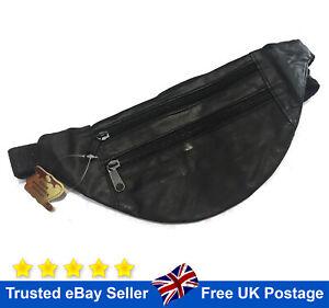 Leather Bum Bag Black Waist Belt Money Belt Fanny Pouch Holiday Travel Wallet