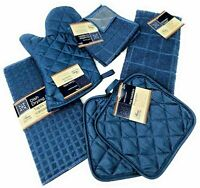 Kitchen Towel Set - Blue - Pot Holders, Oven Mitt, Dish Towel, Dish Drying Mat