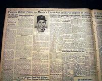 MICKEY MANTLE High Home Run Out of BALLPARK Tiger Briggs Stadium 1956 Newspaper