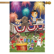 "Patriotic Pups Fourth of July House Flag Fireworks Dogs Usa 28"" x 40"""
