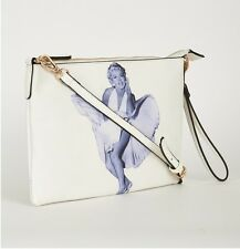 Ladies Marion Retro White Faux Leather 2 Bags in one Cross Body & Clutch Bag