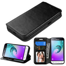 for SAMSUNG GALAXY EXPRESS 3/ J1 2016 BLACK WALLET LEATHER ACCESSORY C