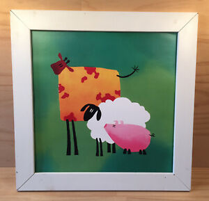 """COW, SHEEP & PIG """"Green"""" Gorgeous Animal Picture in Decorative Wooden Frame IKEA"""