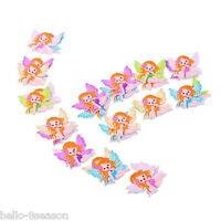 50PCs Mixed Cartoon Tiny Fairy Wooden Buttons 2 Hole Fit Sewing DIY Scrapbook