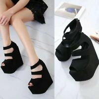 Women Ladies Thick Wedge Platform High Heels Faux Suede Peep Toe Sandals Shoes