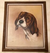 DOG OIL PAINTING PORTRAIT OF A BEAGLE 20x24 STRETCH CANVAS FRAMED Signed Gisele