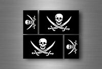 4x autocollant sticker voiture jolly roger drapeau pirate biker jack rackam r8