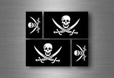 4x autocollant sticker voiture jolly roger drapeau pirate biker jack rackam r8