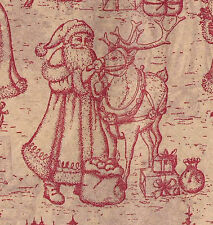 Burgundy Toile on Light Tan ~ Christmas Tissue Paper # 735 ~ 10 Large Sheets