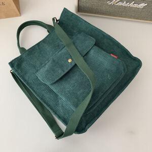 Women Canvas Corduroy Tote Bags Handbag Ladies Travel Messenger Shoulder Bag