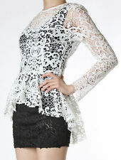 white lace flowy sheer peplum top skirt waist classy high quality korea dress