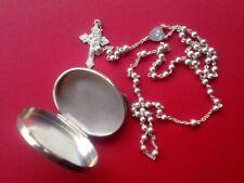 rosario con scatolina argento