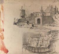 Zeichnung Bordeaux? Frankreich Architektur Windmühle Skizze 21,5 x 23,5
