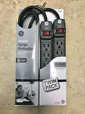 Twin Pack - GE 6 Outlet General Purpose Surge Protector 3FT Power Strip Black