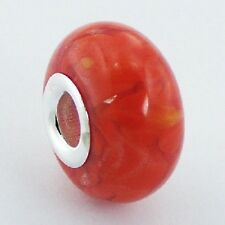 hl28 White Spots On Yellow 925 Sterling Silver European Murano Glass Bead
