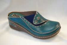 L'Artiste Chino by Spring Step Women's Blue Hand Painted Leather clog size 42