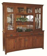 Amish Arts & Crafts Mission Hutch China Cabinet 4-Door Solid Wood Cape Cod 72""