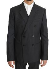 NEW $2600 DOLCE & GABBANA Suit Gray Wool Silk Double Breasted Slim EU50/US40/L