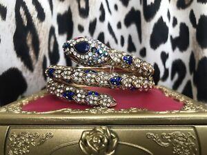 Betsey Johnson Betsey Blues Gold Dark Blue Opal Snake Coil Wrap Bangle Bracelet