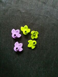 Genuine Lego 5x Leaf - 32607 - Lime & Medium Lavender