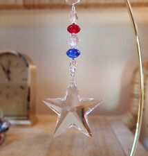 =^..^= Star Suncatcher made with 40mm Swarovski Clear Crystal Red Cl Blue Silver