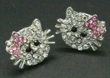 HELLO KITTY CUTE SILVER PLATED RHINESTONE STUD EARRINGS W/ PINK BOW