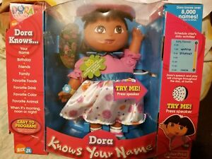 New DORA KNOWS YOUR NAME Interactive Toy Baby Doll Talks Sings RARE Flower Dress