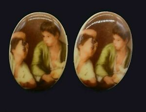 10 Murillo's Boys Eating Fruit Grape Eaters Art Reproduction Cameo 25 x 18 mm