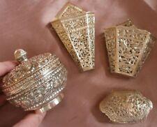 4 pièces orientales argent massif - 2 Boîtes 2 Porte bouquets - Asie Chine