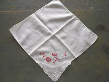Ladies Vintage Handkerchief With Red And Grey Hand Stitching At Corner