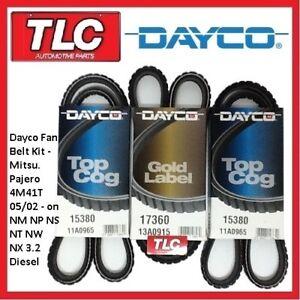 Dayco Fan Belt Kit (3 Belts) Pajero 3.2L Diesel 4M41T NM NP NS NT NW NX 05/02 on