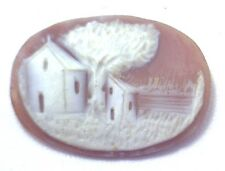NOS Antique Hand Carved Oval Shell CAMEO Stone House & Tree Scene #N444