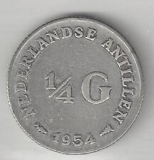 NETHERLANDS ANTILLIES, 1954,  1/4 GULDEN,  SILVER,  VERY FINE,  KM#4