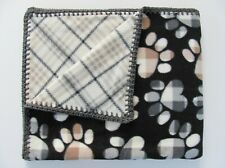 Fleece Dog or Cat Pet Blanket, Reversible Plaid & Paw Print 30 x 36, Made in Usa