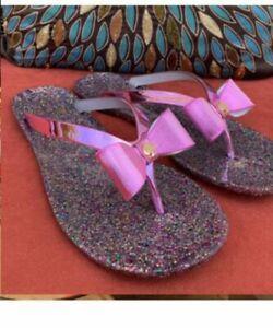 HOT! NIB Kate Spade Womens Folllie Glitter Bow Flip Flops Sandals Size 7 Purple