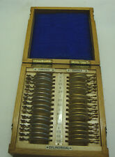 Early 20th century set of opticians test lens in original oak case