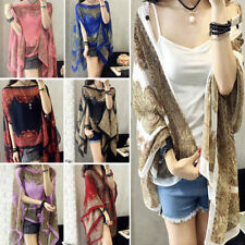 Long Soft Stole Neck Sunscreen Summer Scarves Chiffon Flower Scarf Beach Shawl