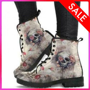 Jack Skellington TBL Boots-Women Snow Ankle Boots-Motorcycle Leather Warm Winter