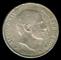 1885 Spanish Philippine ALFONSO XII 50 Centimos De Peso Silver Coin A4