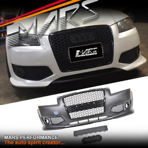 RS3 Style Front Bumper Bar with Grill Grille for AUDI A3 S3 8P Hatch 05-08