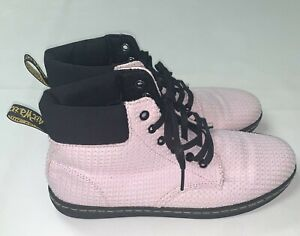 Dr Doc Martens Air Wair Womens Maelly Pink Black Textured Waffle Canvas Boots 10