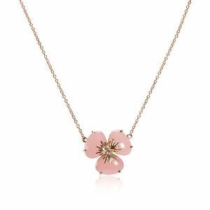 Malva Quartz Diamond Flower Necklace in 18K Rose Gold 0.02 CTW