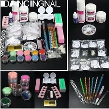 Pro Acrylic Liquid Nail Art Tips Brush Glue Glitter Powder Buffer Tools Set Kit