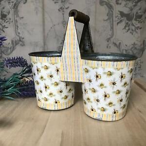 Vintage Bees Double Pot Herb Planter Windowsill Pots Kitchen Storage Desk Tidy